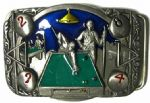 Pool Game Table Cues Balls Belt Buckle + display stand. Code FA7